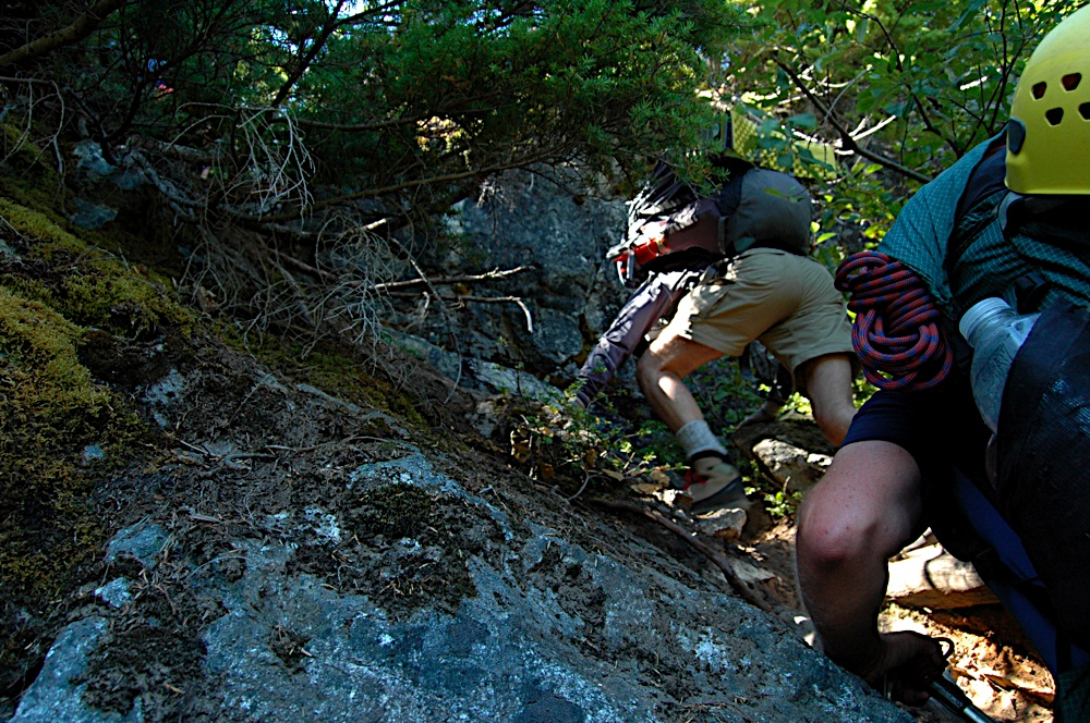 steep scrambling on the trail