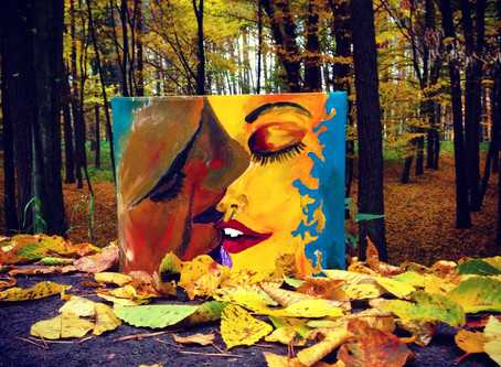 AN OLD PORTRAIT DROWNING IN THE GOLDEN LEAVES...