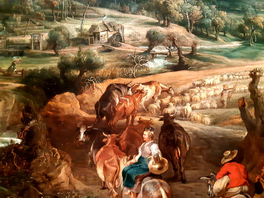 """Detail of Peter Paul Rubens """"Summer: Peasants Going to Market"""", The Queen's Gallery, Buckingham Palace"""