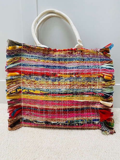 Handmade recycled Sari Bag Large