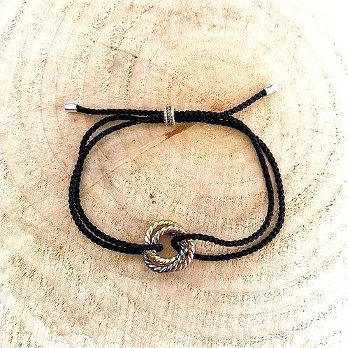 3 Golds Adjustable Silver Bracelet