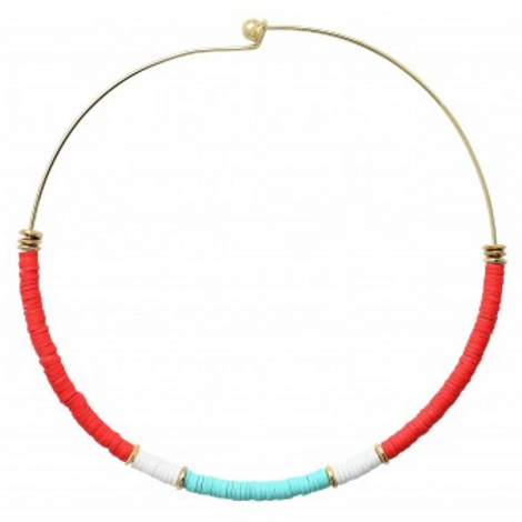 Dear Charlotte Red and Turquoise Resine Necklace