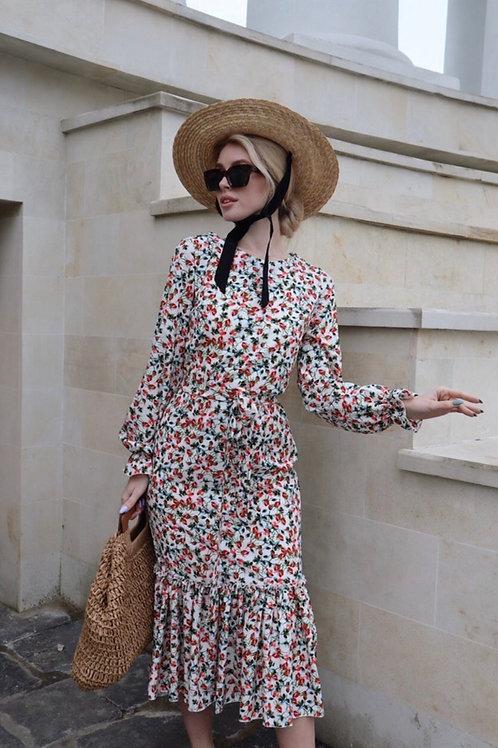 Silky Beige Midi Floral Dress