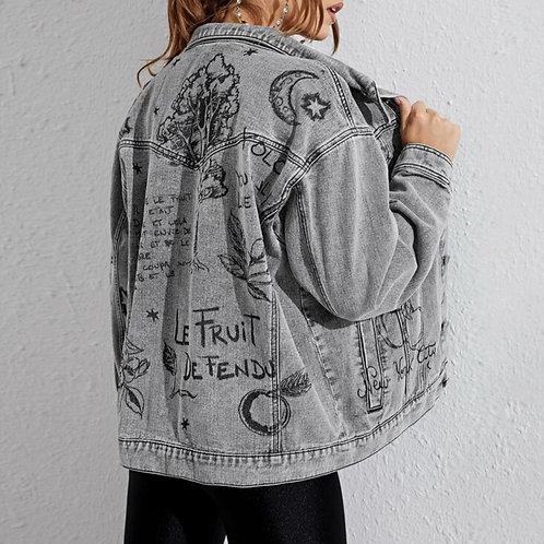 Grey denim jacket with printed design