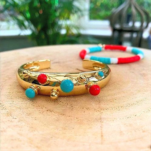 Dear Charlotte Coral & Turquoise Bracelet