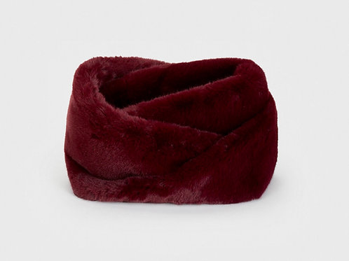 Double snood scarf faux fur vine red