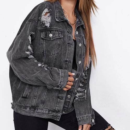 Ripped dark grey denim jacket