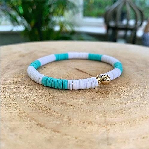 Dear Charlotte White & Turquoise Resine Bracelet