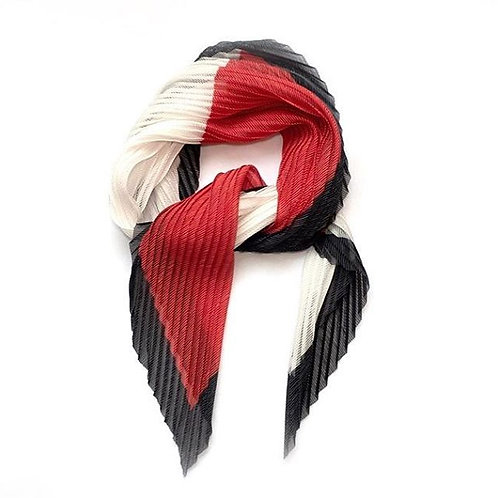 Red, White & Grey Pleated Scarf