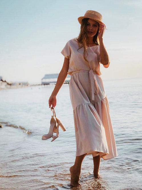 Sophie Beige Midi Dress with Belt