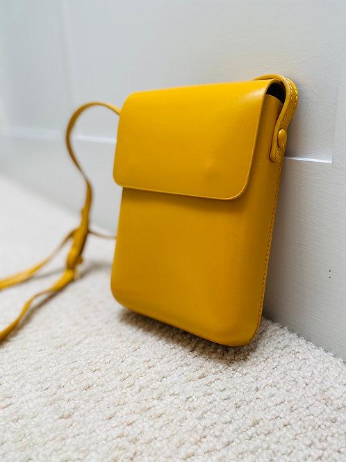 Saffron yellow handmade crossbody rectangular handbag