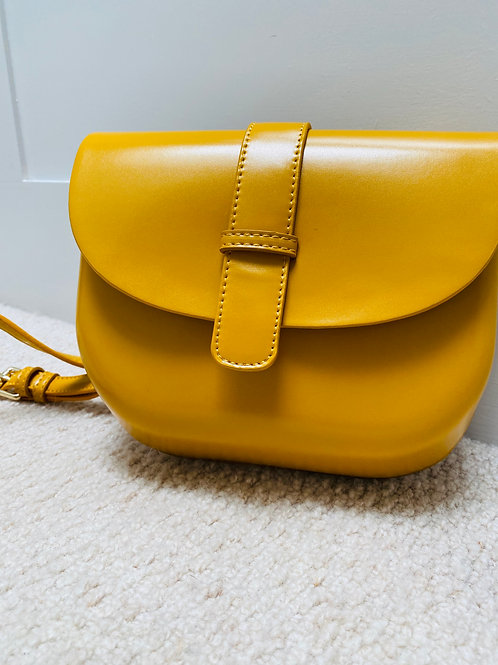 Saffron yellow handmade crossbody bag