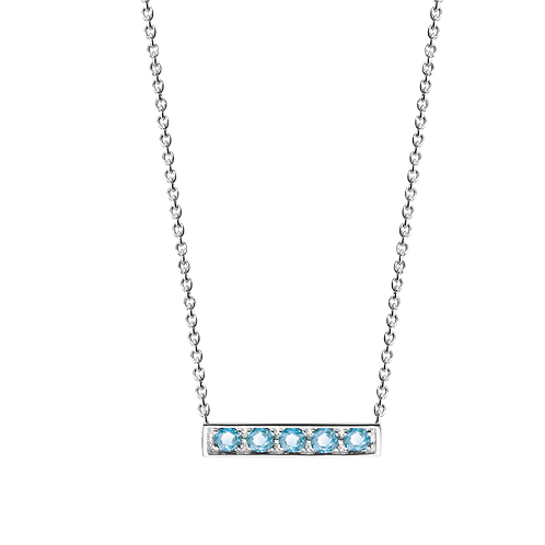 925 Silver Adjustable Stackable Chain Necklace with Topaz