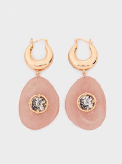 Large powder pink statement earrings