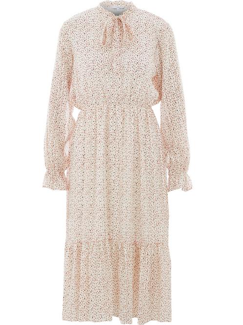 Cream midi dress with metallic infusions