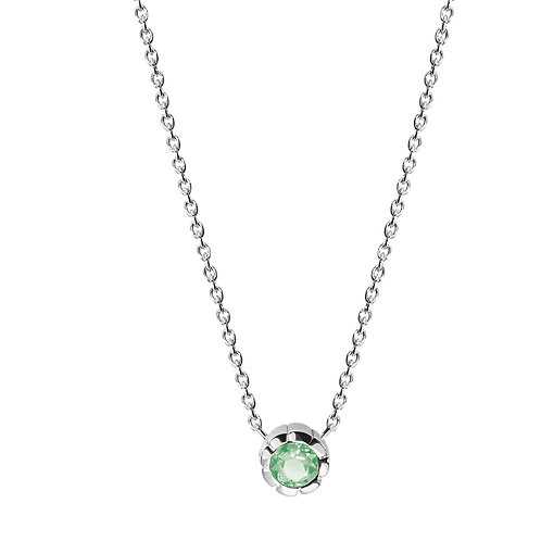 Silver Necklace with Peridot