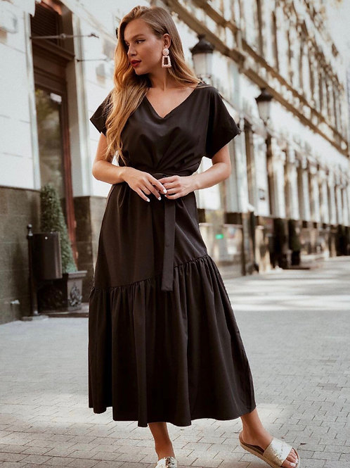 Sophie Black Maxi Dress with Belt
