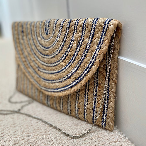 Straw clutch with silver chain