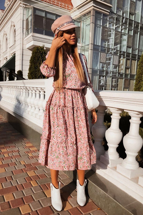Pink Daisy midi dress