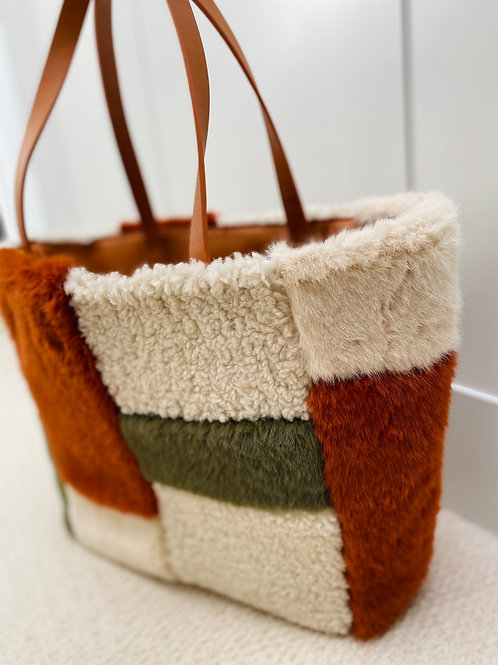 Faux fur reversible tote bag