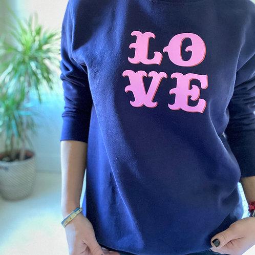 Neon Pink Love Organic Navy Sweatshirt