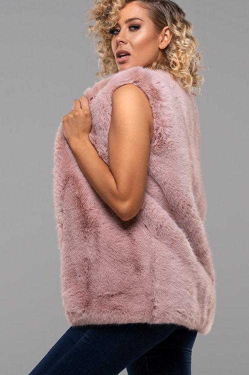Powder pink faux fur gillet
