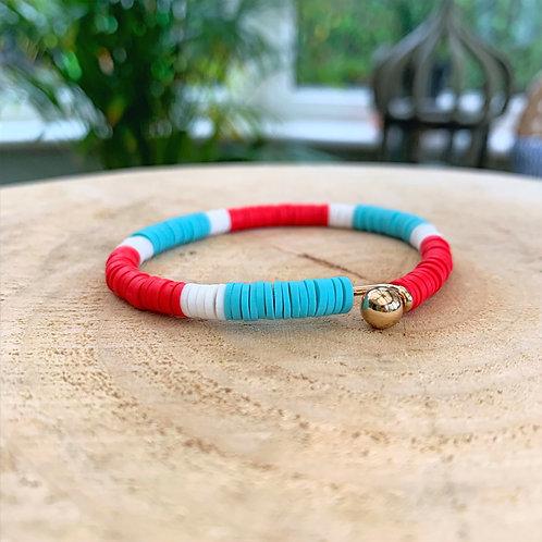 Dear Charlotte Red & Turquoise Resine Bracelet