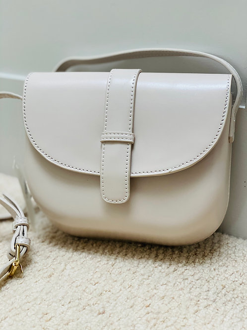 White sand handmade crossbody bag