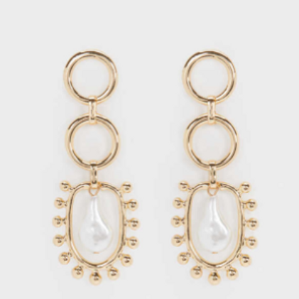 Statement gold brass earrings with faux pearl