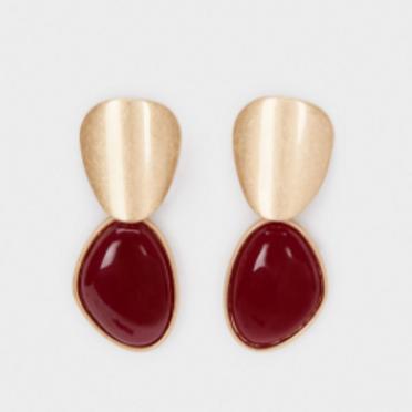 Enamel burgundy earrings