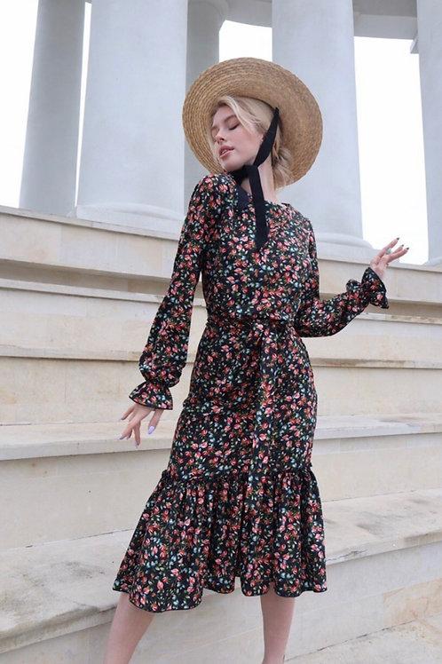 Silky Black Floral Dress