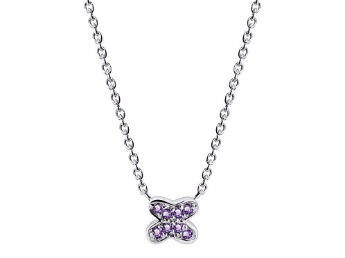 925 Silver Adjustable Stackable Chain Necklace with Amethyst