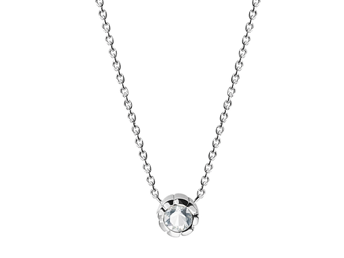 Silver Necklace with White Sapphire