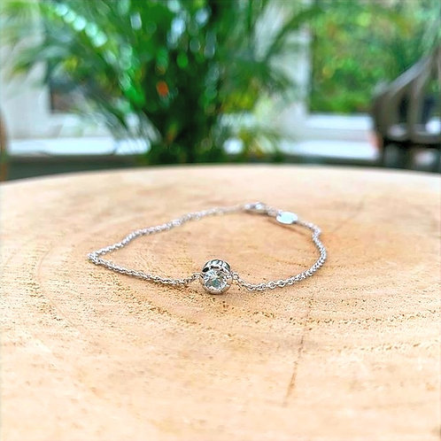 Silver Bracelet with White Sapphire