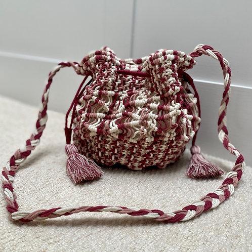 Handmade bucket handbag with tassel