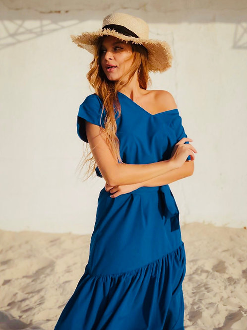 Sophie Bright Blue Maxi Dress with Belt