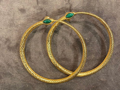 Snake earrings agate stone