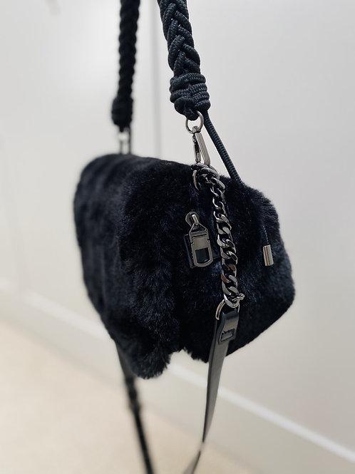 Black faux fur bag with black chain& woven strap