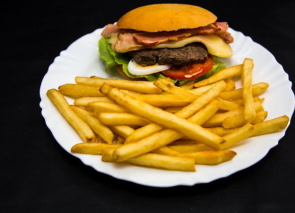 Hamburguesa completa con fritas