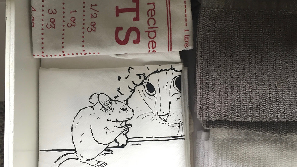 cat and mice tea towel