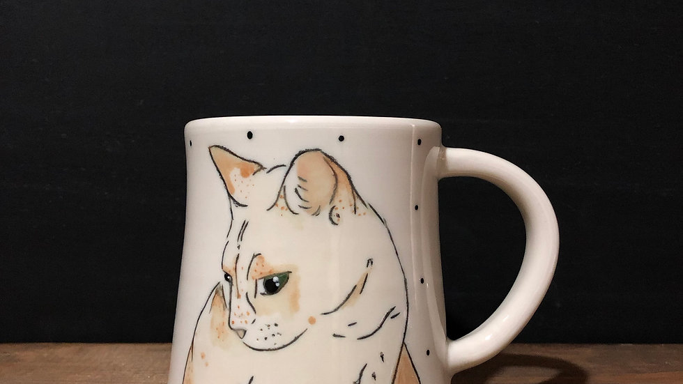 brown and white cat mug
