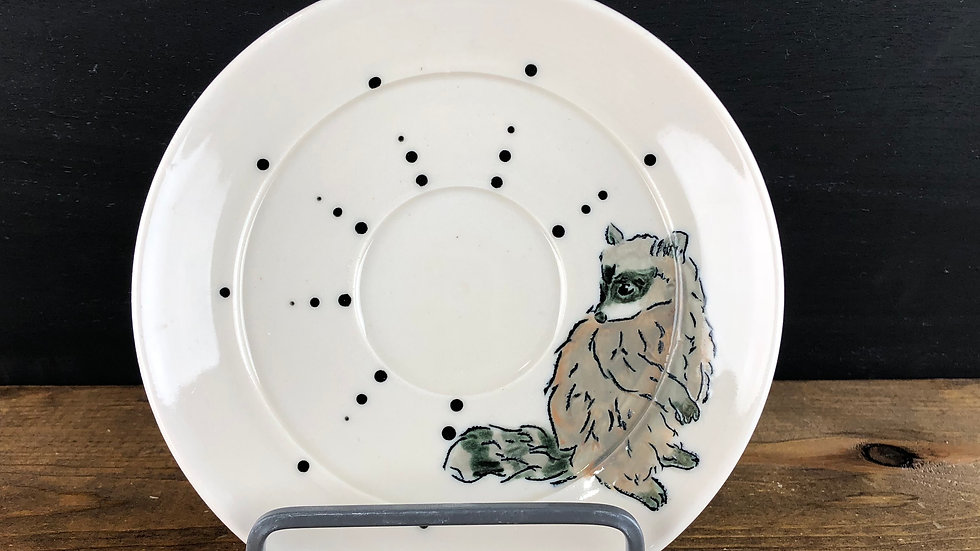 raccoon dessert plate or saucer
