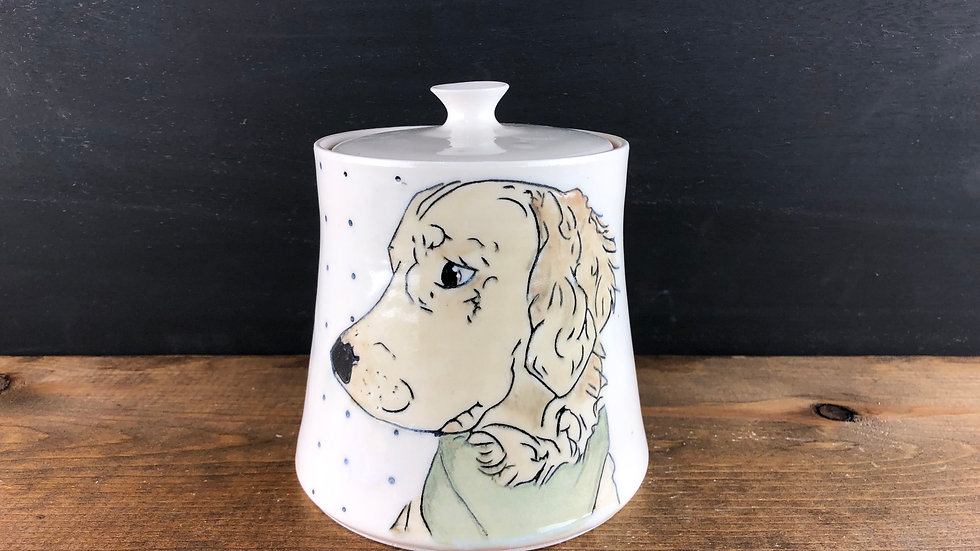 golden retriever dog treat jar