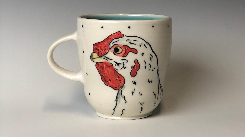 white chicken mug