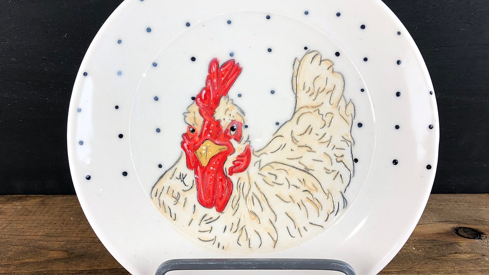 yellow chicken dessert plate