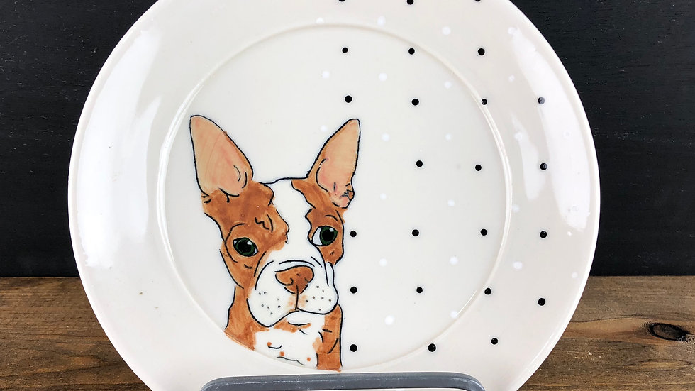 brown Boston terrier dessert plate