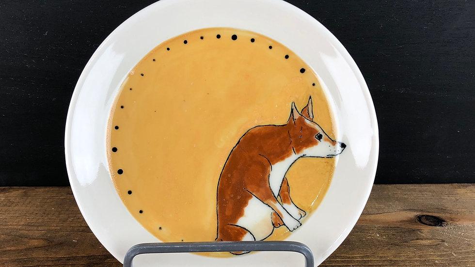 yellow dog dessert plate