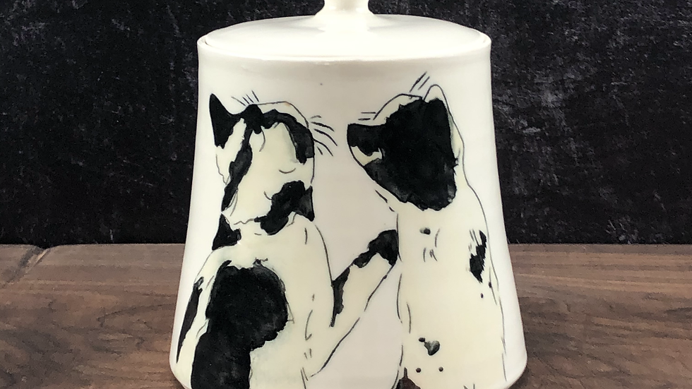 black and white cat treat jar