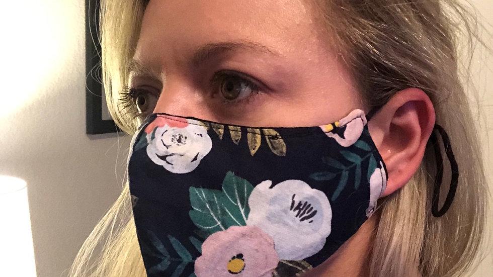 Reversible black and floral masks
