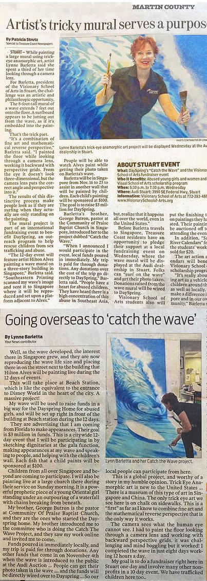 Lynne Barletta Artist in Stuart, Florida for Catch the Wave of Hope